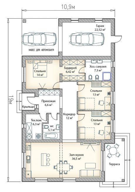 Планировка дома с гаражом и террасой