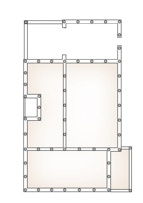 Схема фундамента дома с гаражом и террасой