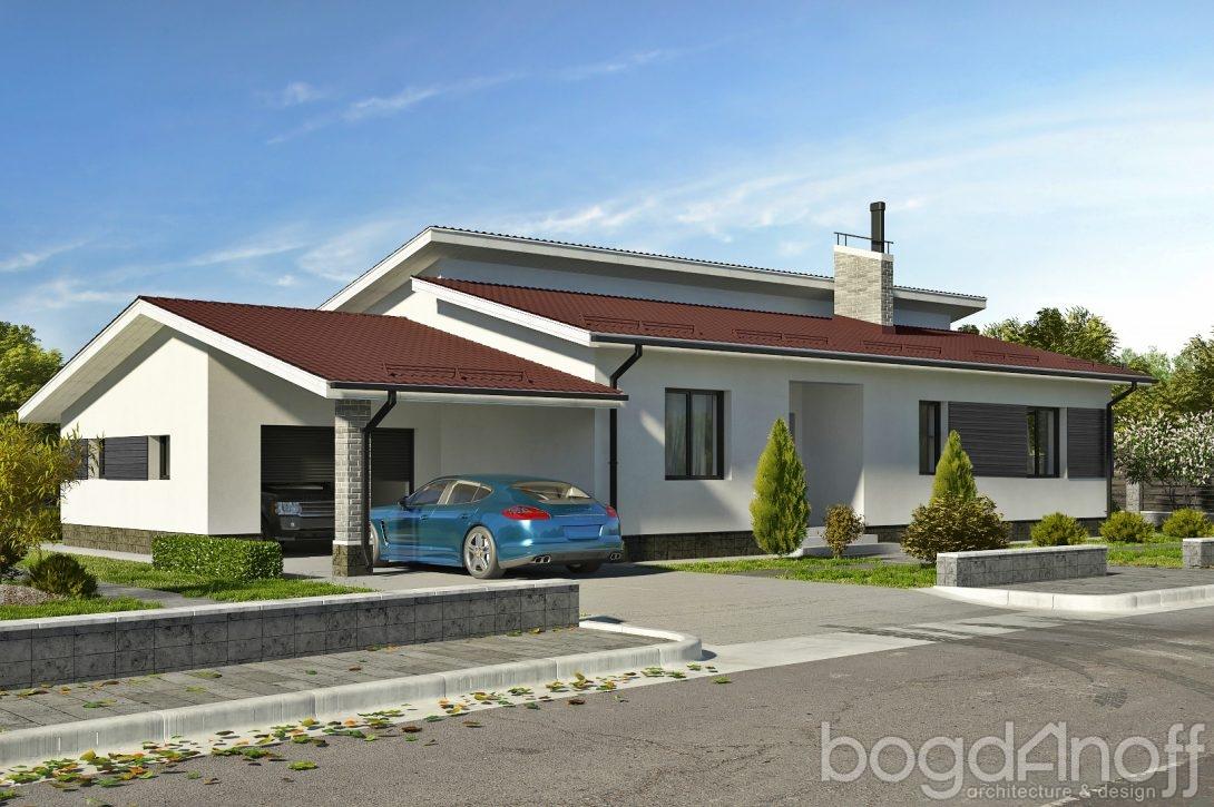 Проект с гаражом и террасой фото