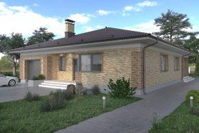 Проект одноэтажного дома облицованный кирпичом изображение