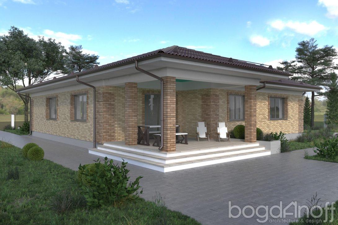Проект одноэтажного дома облицованный кирпичом фото