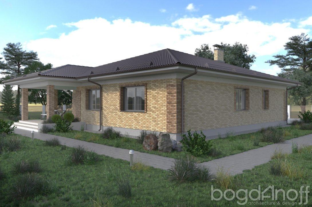 Проект одноэтажного дома облицованный кирпичом