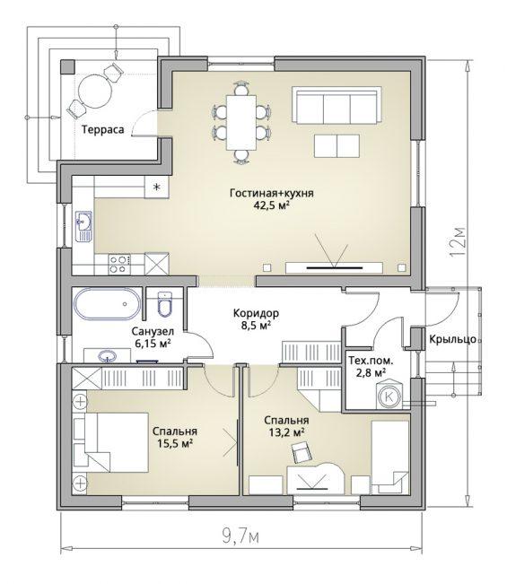 Планировка экономного одноэтажного дома с камином
