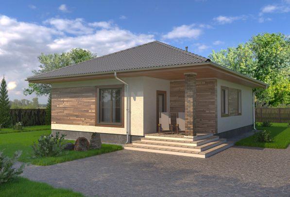 Проект экономного одноэтажного дома с камином