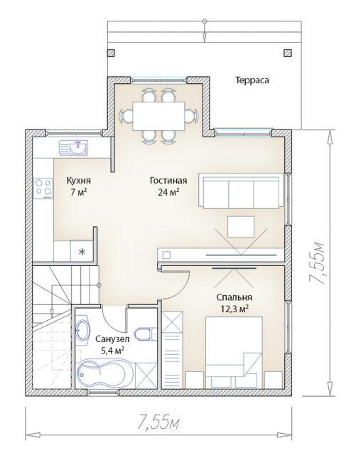 План первого этажа домика 7 на 7 дачный вариант
