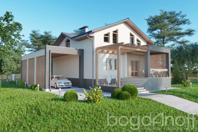 Проект дома с навесом и террасой