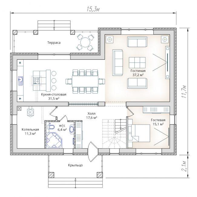 План первого этажа жилого дома в два этажа с мансардой