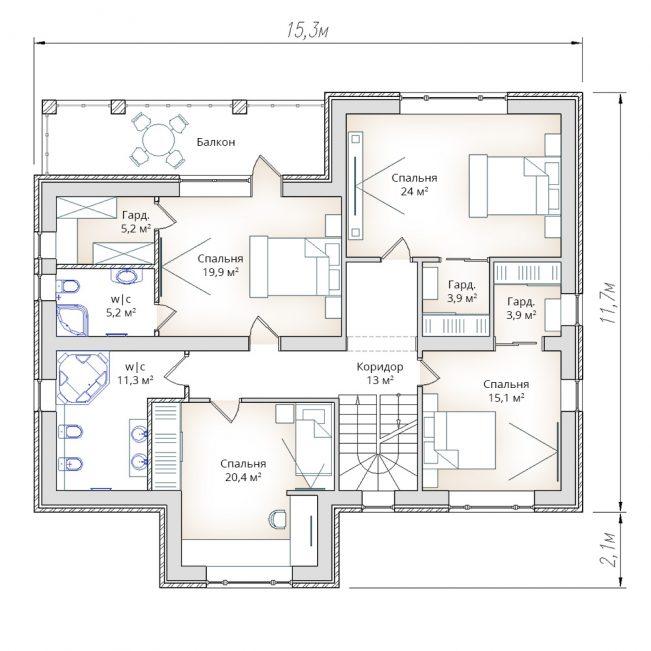 План второго этажа жилого дома в два этажа с мансардой