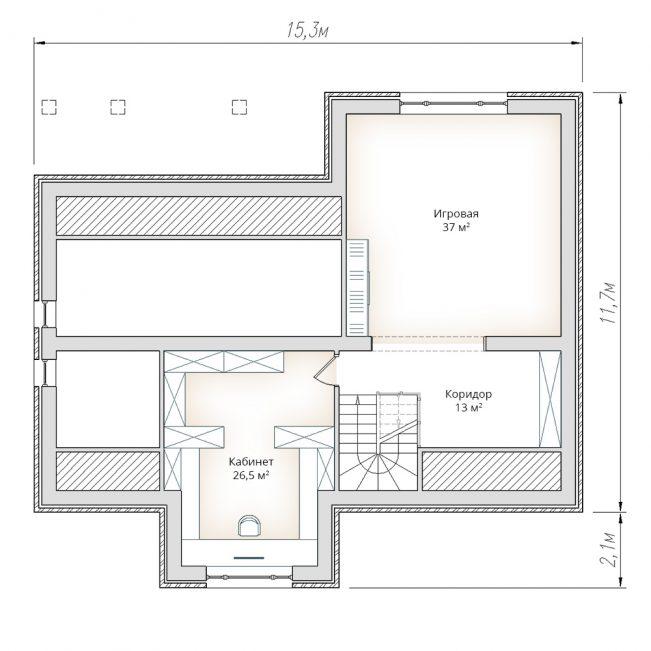 План мансарды жилого дома в два этажа с мансардой