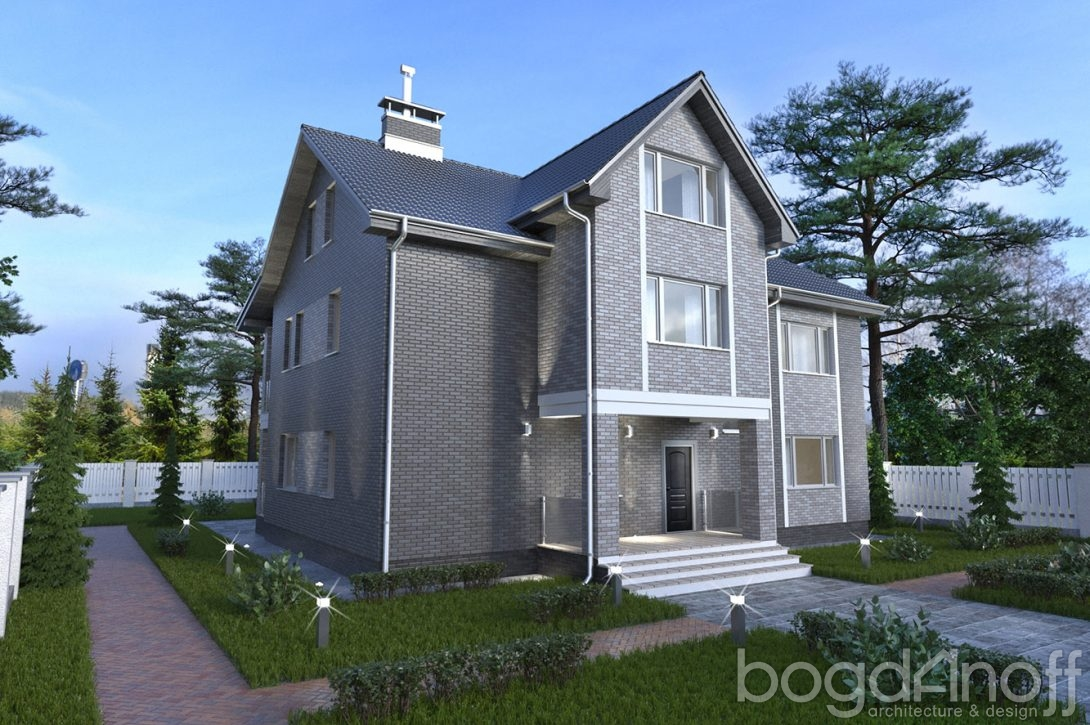 Проект жилого дома в два этажа с мансардой