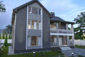 Проект жилого дома в два этажа с мансардой изображение