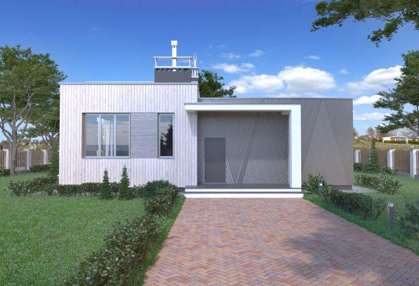 Проект коттеджа с плоской крышей РБ фото