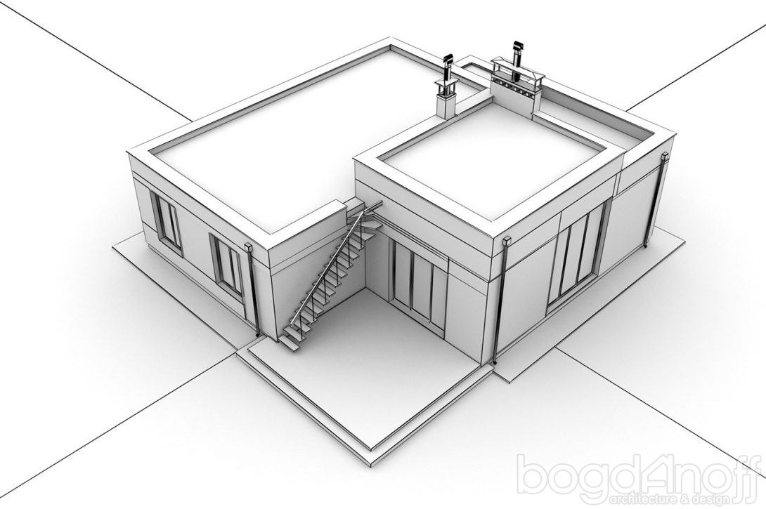 Макет коттеджа с плоской крышей РБ