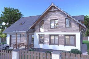 Дом с террасой и отделкой деревом