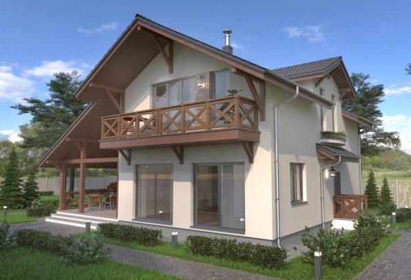 Проект домика шале с балконом