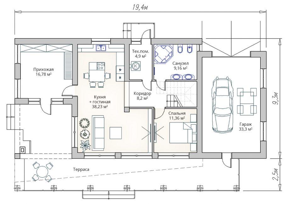 План первого этажа дома с плоской крышей