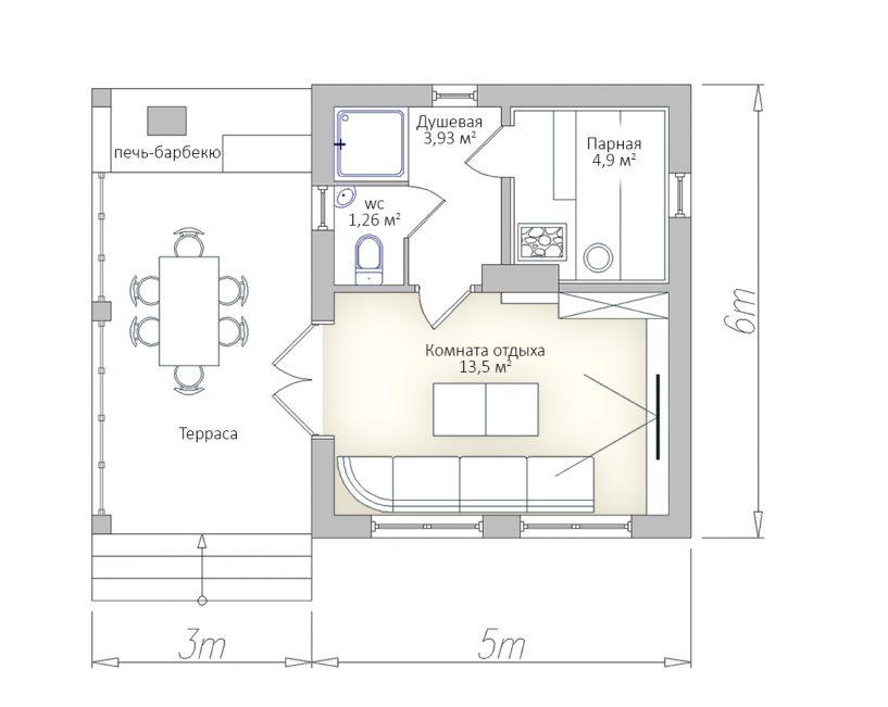 План первого этажа баньки с террасой 6х8 и барбекю