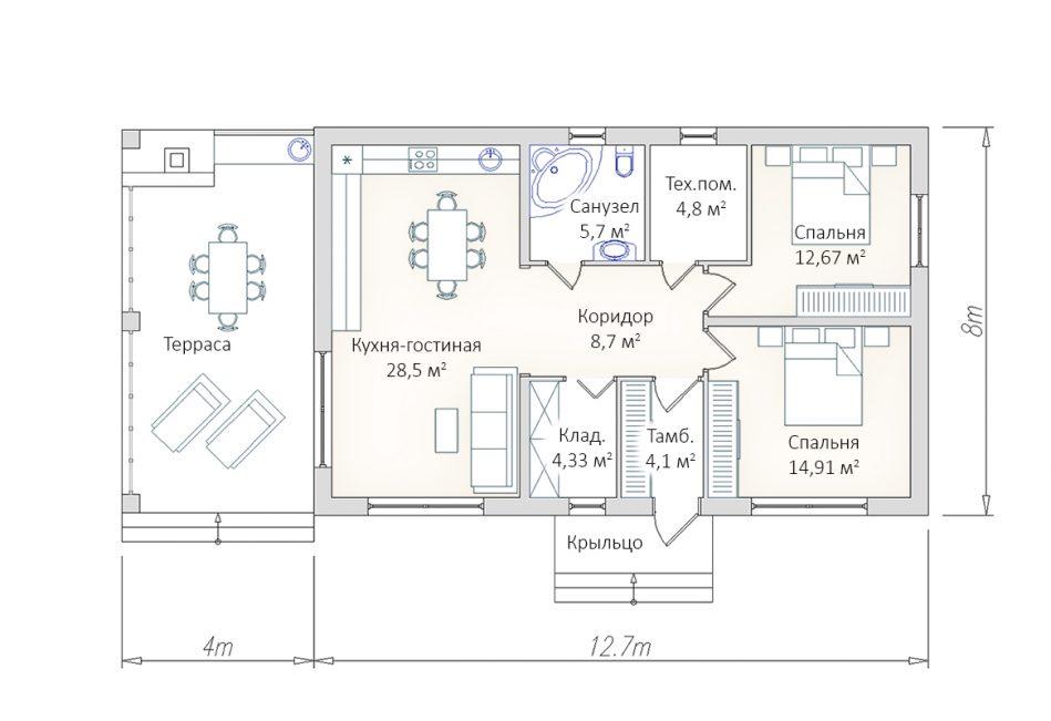 Планировка гостевого дом-бани