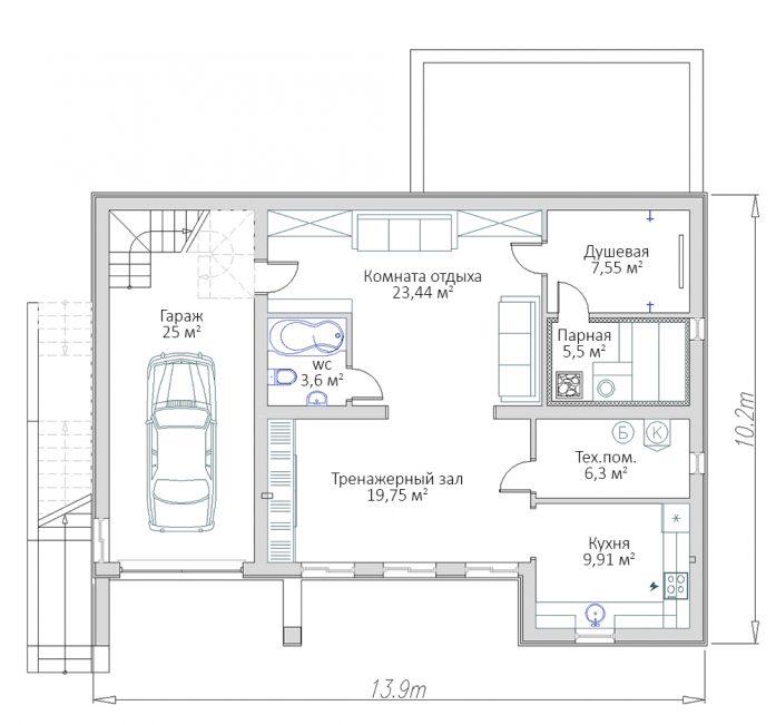 План цокольного этажа дома с цокольным этажом и плоской кровлей РБ