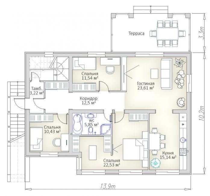 План первого этажа дома с цокольным этажом и плоской кровлей РБ
