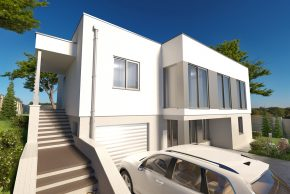 Проект дома с цокольным этажом и плоской кровлей РБ изображение