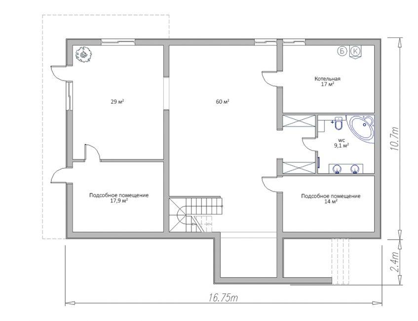 План цокольного этажа дома на неровном участке