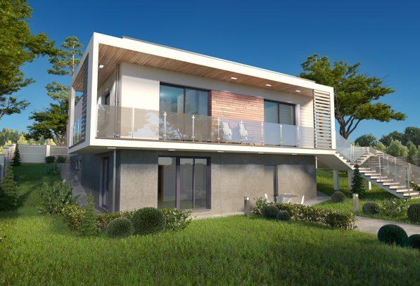 Проект дома с цоколем на неровном участке фото