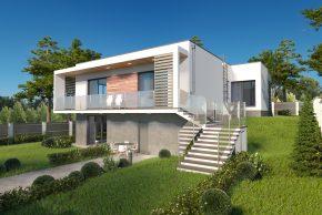 Проект дома с цоколем на неровном участке изображения