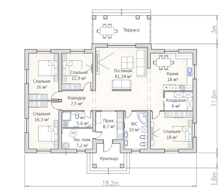 Планировка большого просторного дома в 1 этаж