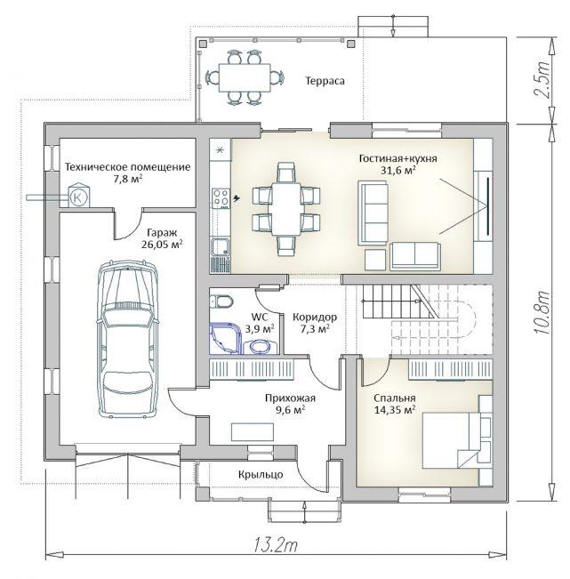 Плане первого этажа двухэтажного дома с гаражом