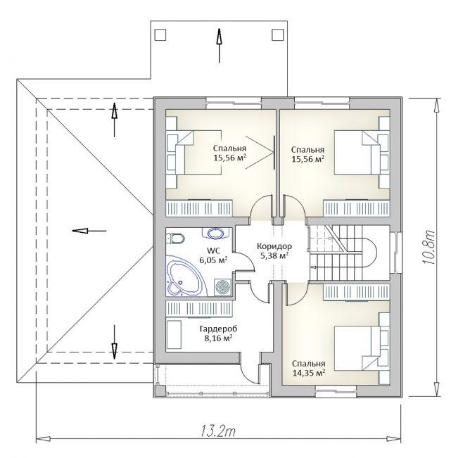 Плане второго этажа двухэтажного дома с гаражом