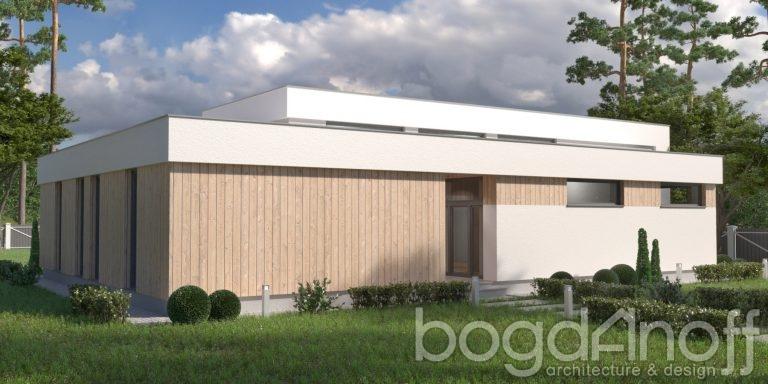 Проект одноэтажного дома с плоской кровлей