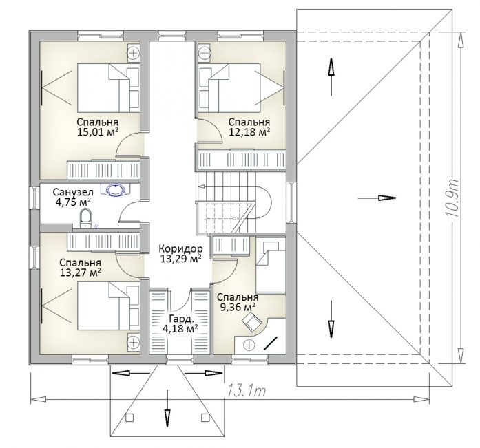 План второго этажа двухэтажного дома с гаражом