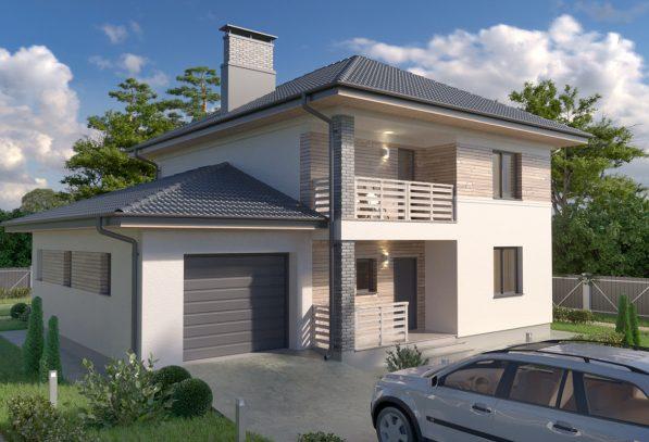 Проект двухэтажного дома с гаражом площадью 160 метров