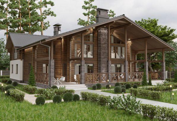 Двухквартирный деревянный дом из клеенного бруса фото