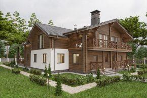 Двухквартирный деревянный дом из клеенного бруса изображение