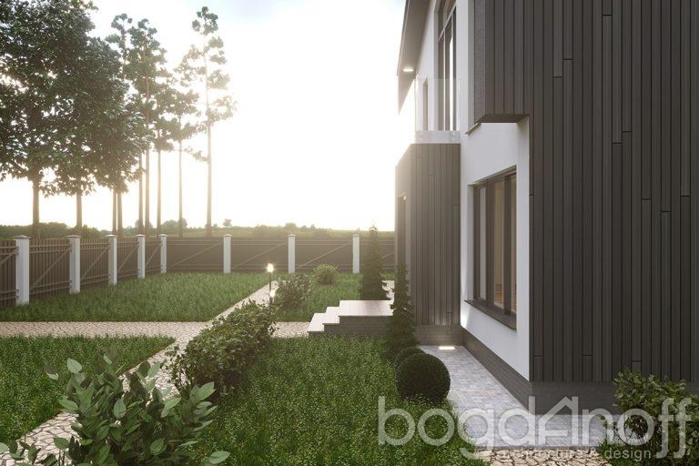 Участок двухэтажного дома в стиле хай тек