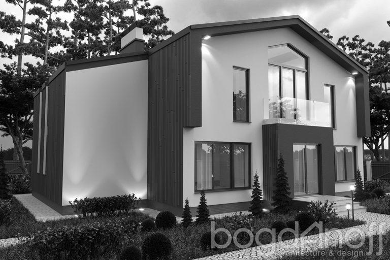 Проект двухэтажного дома в стиле хай тек