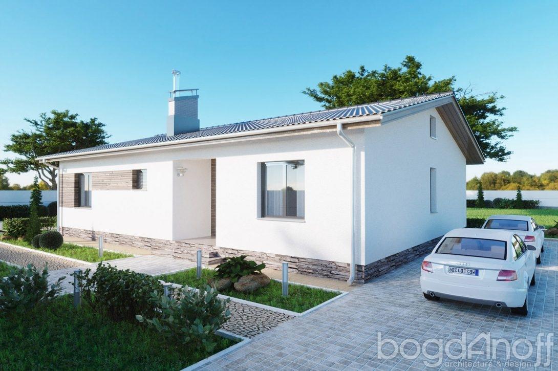 Одноэтажный проект дома с двускатной крышей фото