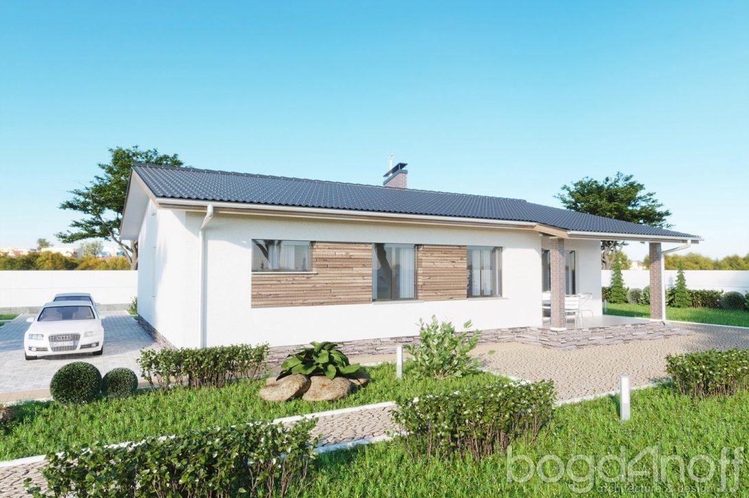 Одноэтажный проект дома с двускатной крышей