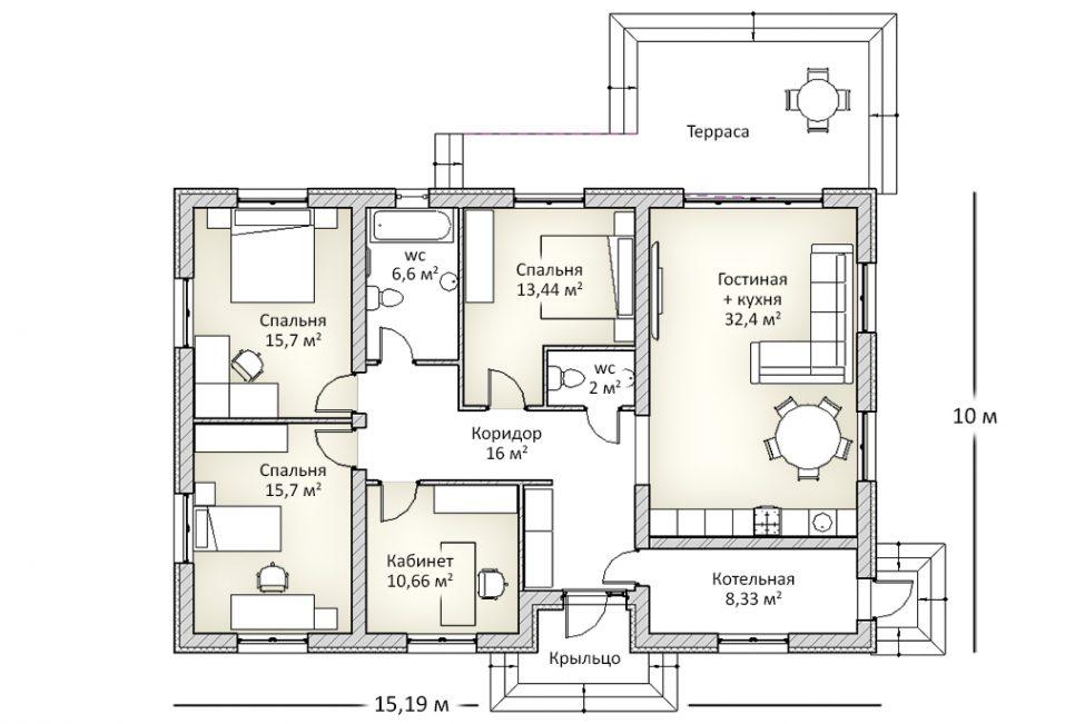 План первого этажа одноэтажного дома из блоков