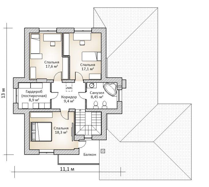 Второй этаж дома в 2 этажа