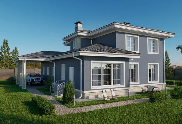 Проект двухэтажного дома с гаражом фото