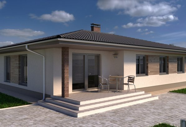 Терасса проекта дома с вальмовой крышей
