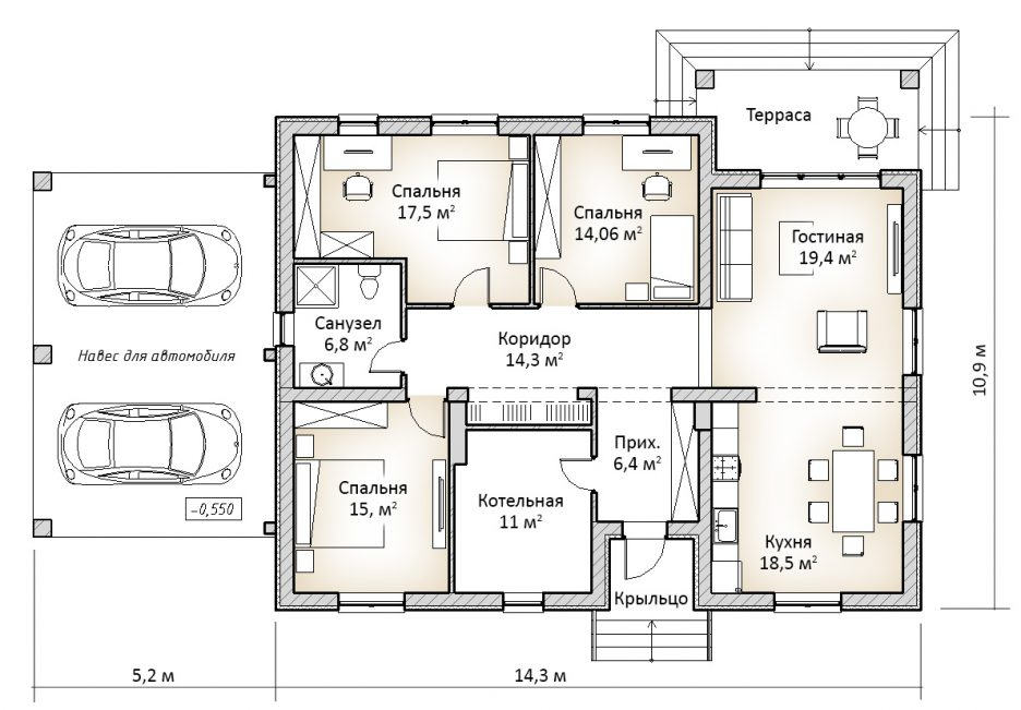 План дома 1 этажного