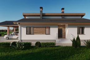 Проект одноэтажного дома с гаражом для двух машин фото