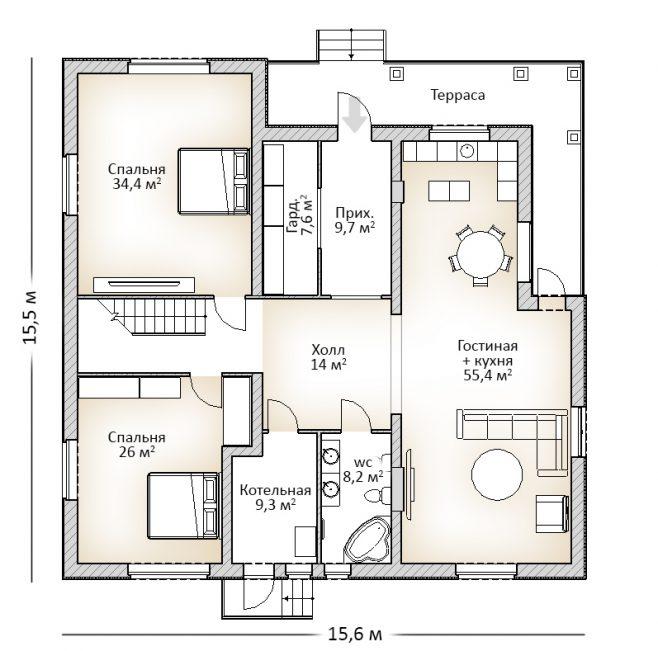 План дома первого этажа с неровной кровлей