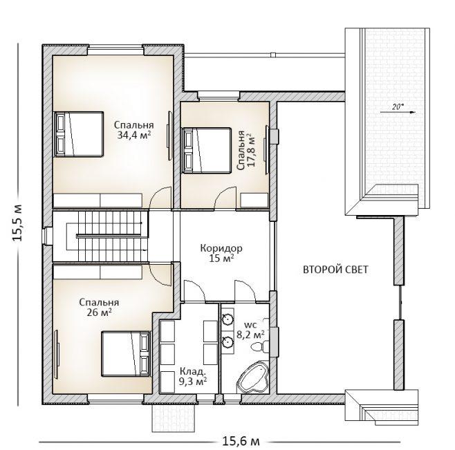 Планировка мансарды дома с неровной крышей