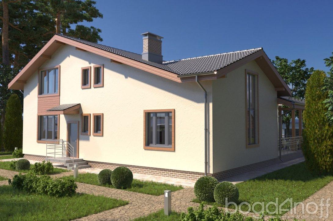 Проект дома с асимметричной крышей фото