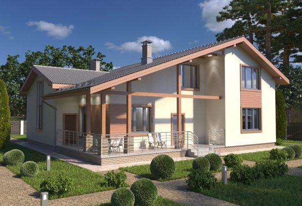 Проект дома с асимметричной крышей пример